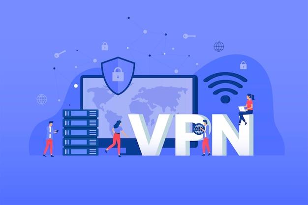 Koncepcja ilustracji usługi wirtualnej sieci prywatnej