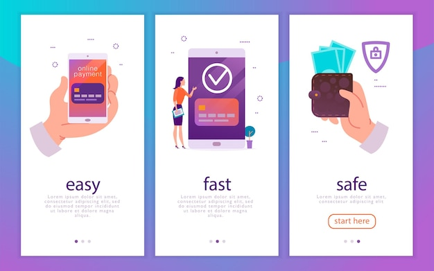Koncepcja ilustracji wektorowych dla łatwych, szybkich i bezpiecznych płatności mobilnych z ludzką ręką trzymającą smartfona i kobietę na dużym urządzeniu płacącym online. płaski styl. w przypadku aplikacji mobilnej, strony docelowej, banera internetowego