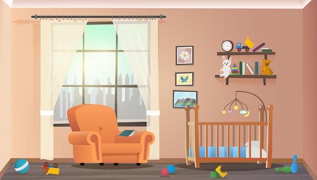 Koncepcja ilustracji wektorowych wnętrze pokoju dziecięcego