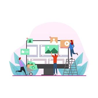 Koncepcja Ilustracji Z Ilustracji Społecznej Sieci I Pracy Zespołowej Premium Wektorów