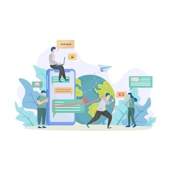 Koncepcja ilustracji z ilustracji społecznej sieci i pracy zespołowej