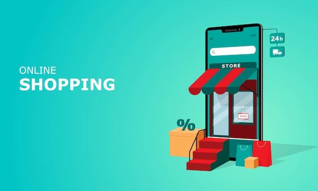 Koncepcja ilustracji zakupów online, odpowiednia dla strony docelowej w internecie, aplikacji mobilnej