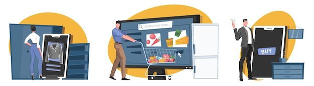 Koncepcja ilustracji zakupów online