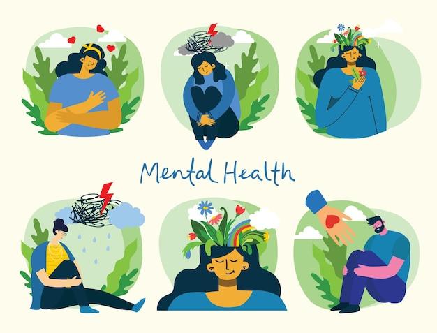 Koncepcja ilustracji zdrowia psychicznego. depresja. młody mężczyzna i kobieta z burzą w głowie. wizualna interpretacja psychologii zdrowia psychicznego w płaskiej konstrukcji