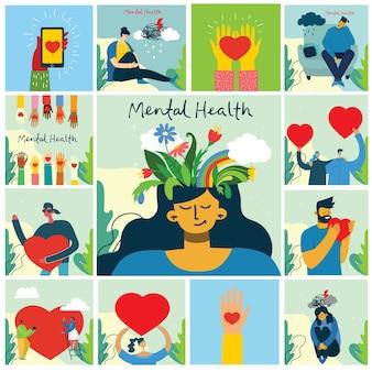 Koncepcja ilustracji zdrowia psychicznego. młody mężczyzna i kobieta z burzą w głowie. wizualna interpretacja psychologii zdrowia psychicznego w płaskiej konstrukcji