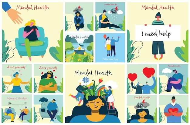 Koncepcja ilustracji zdrowia psychicznego. wizualna interpretacja psychologii zdrowia psychicznego w płaskiej konstrukcji