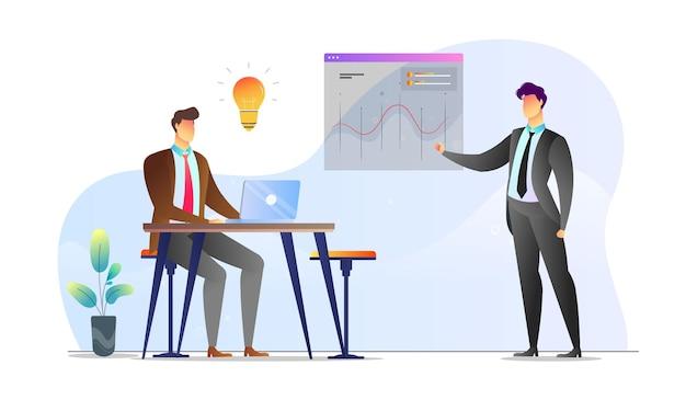 Koncepcja ilustrowane mężczyźni biznes prezentacja statystyka kreatywny szablon