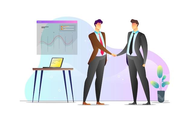 Koncepcja ilustrowane mężczyźni deal spotkania kreatywny szablon