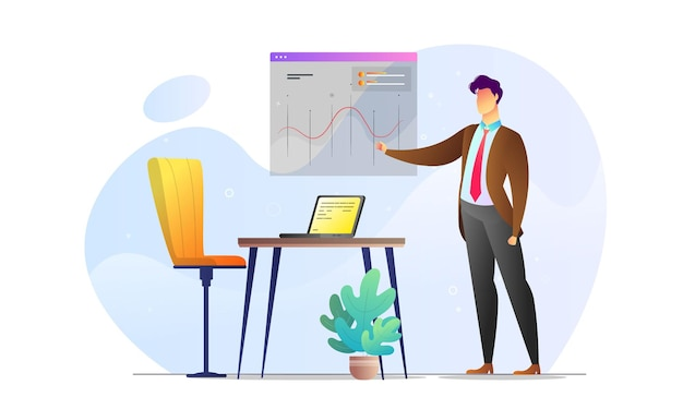 Koncepcja ilustrowany mężczyzna prezentacja statystyka kreatywny szablon