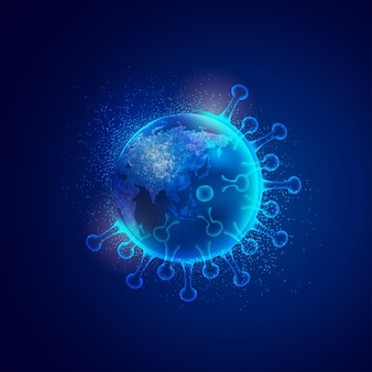 Koncepcja infekcji covid-19 na całym świecie, grafika przedstawiająca glob pokryty wirusem