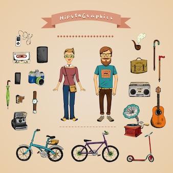 Koncepcja infografika hipster z mężczyzną, dziewczyną i akcesoriami na białym tle