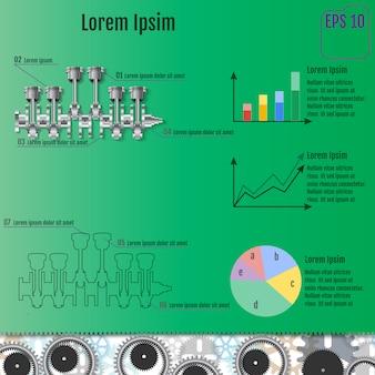 Koncepcja infografika oparta na wale korbowym.