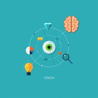 Koncepcja infografika płaski kreatywny proces wizji