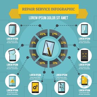 Koncepcja infografika usługi naprawy, płaski