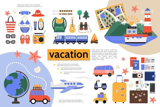 Koncepcja infografikę płaskie wakacje letnie