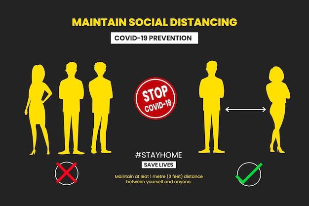 Koncepcja infografikę społeczną odległości