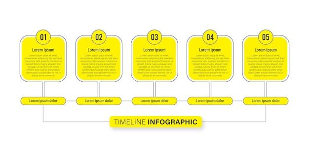 Koncepcja infografiki osi czasu z ikoną, 5 opcji biznes plansza płaska konstrukcja
