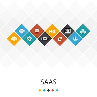 Koncepcja infografiki szablon saas modny interfejs użytkownika. przechowywanie w chmurze, konfiguracja, oprogramowanie, ikony bazy danych