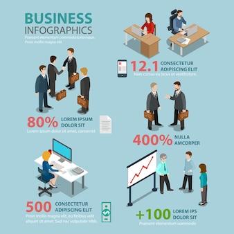 Koncepcja infografiki tematyczne sytuacje biznesowe płaski styl