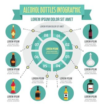 Koncepcja infographic butelek alkoholu, płaski