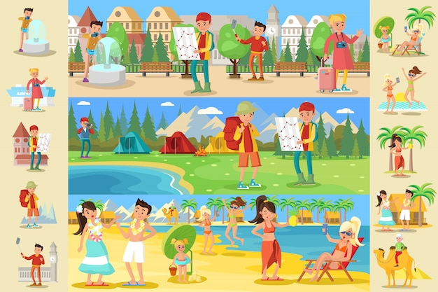 Koncepcja infographic osób podróżujących