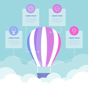 Koncepcja infographic płaski balon