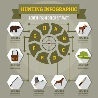 Koncepcja infographic polowania, płaski