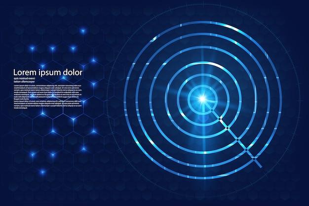 Koncepcja innowacji koło niebieski cel streszczenie technologii