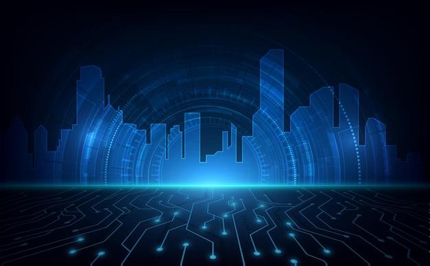 Koncepcja innowacji technologii streszczenie miasta cybernetycznego
