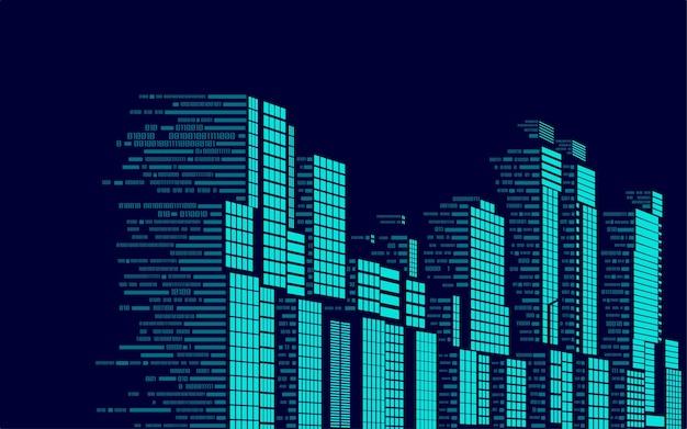 Koncepcja inteligentnego budynku lub cyfrowego miasta, grafika budynków połączona z kodem binarnym