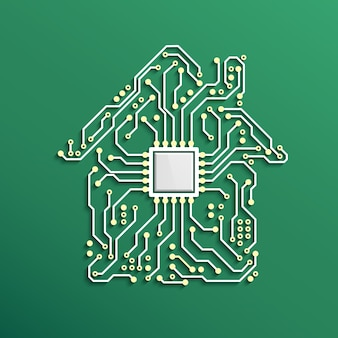Koncepcja inteligentnego domu circuit house z procesorem wewnątrz
