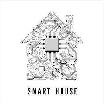 Koncepcja inteligentnego domu dom z torów obwodowych i procesora