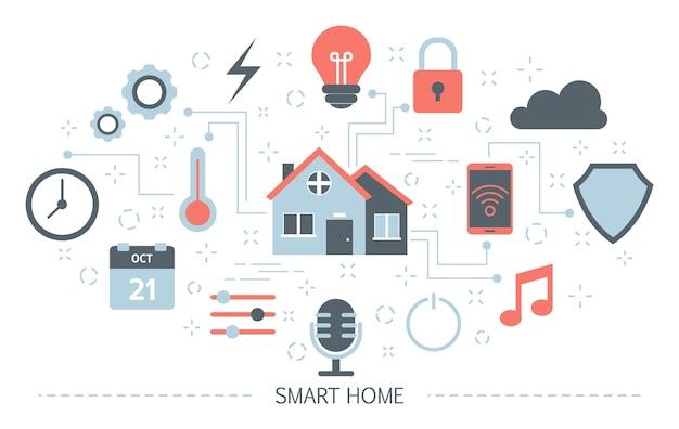 Koncepcja inteligentnego domu. idea technologii bezprzewodowej