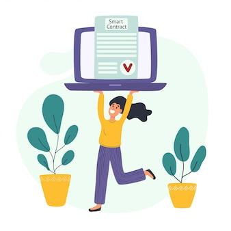 Koncepcja inteligentnego kontraktu z młodą kobietą niosącą laptopa ze zweryfikowanym dokumentem elektronicznym