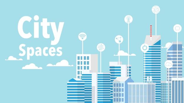 Koncepcja inteligentnego miasta - inteligentny budynek w minimalistycznym niebieskim stylu z inteligentnym obiektem