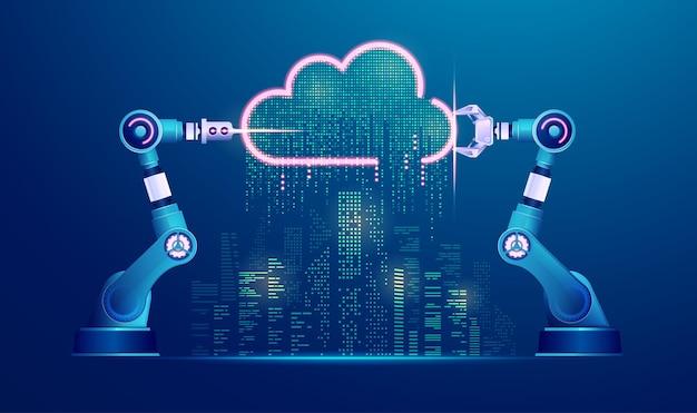 Koncepcja inteligentnego miasta lub przemysłu 4.0, grafika ramion robotycznych z przetwarzaniem w chmurze i futurystycznym miastem
