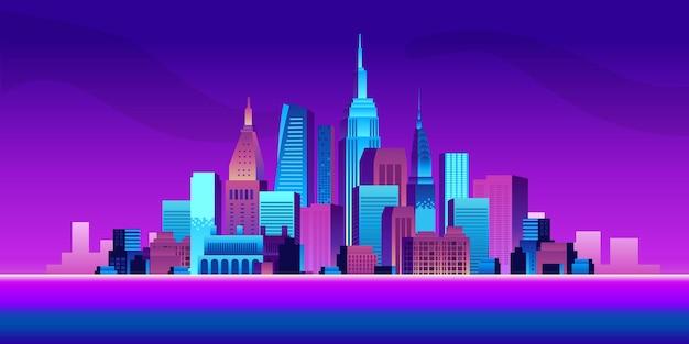Koncepcja inteligentnego miasta z gradientowymi kolorowymi budynkami i ilustracją sceny drapaczy chmur