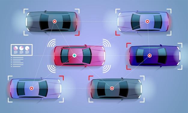 Koncepcja inteligentnego samochodu autonomiczny, autonomiczny pojazd na ilustracji drogi miasta