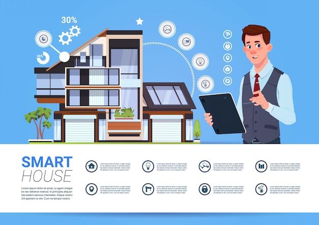 Koncepcja inteligentnego zarządzania domem z człowieka gospodarstwa urządzenia typu tablet