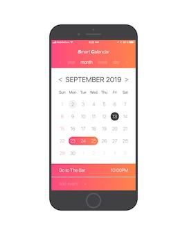 Koncepcja interfejsu aplikacji kalendarza strona września 2019 r