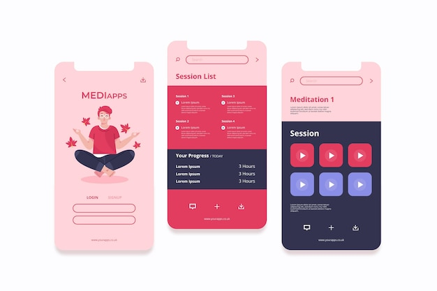 Koncepcja interfejsu aplikacji medytacji
