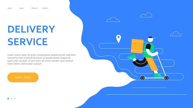 Koncepcja internetowa usługi dostawy dostawa żywności online dostawca jeździ skuterem