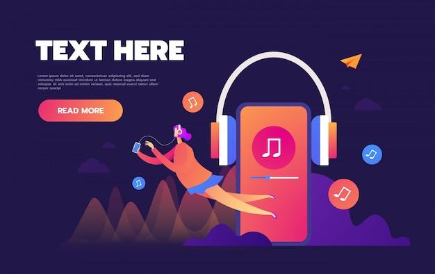 Koncepcja internetowego słuchania muzyki przez internet, ludzie relaksują się słuchając, aplikacje muzyczne, listy odtwarzania piosenek online, blog muzyczny,,