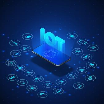 Koncepcja internetu rzeczy. izometryczny baner iot. cyfrowy globalny ekosystem. monitorowanie i kontrola za pomocą smartfona. niebieska technologia. ilustracja