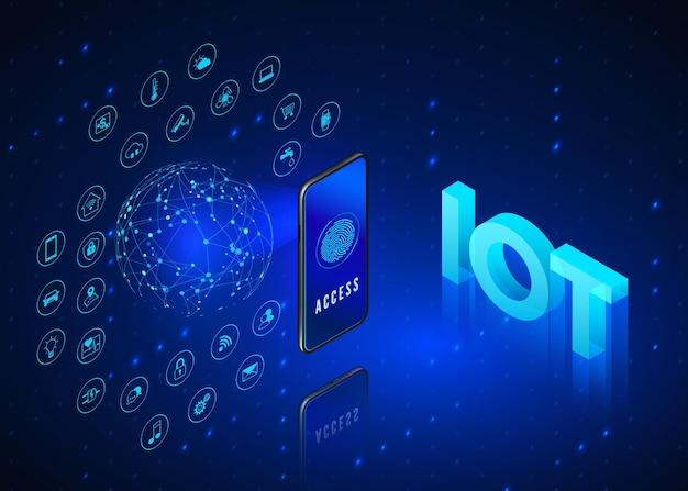 Koncepcja internetu rzeczy. izometryczny iot. cyfrowy globalny ekosystem.