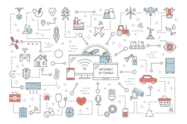 Koncepcja internetu rzeczy. nowoczesna technologia globalna. połączenie między urządzeniami a sprzętem agd. idea inteligentnego domu. zestaw ikon iot. ilustracja