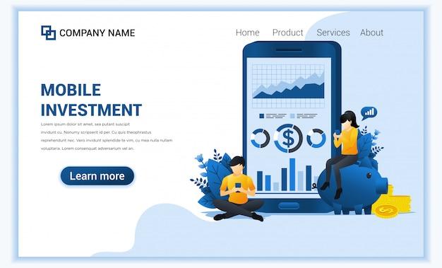 Koncepcja inwestycji mobilnych z ludźmi pracuje na telefonie komórkowym, inwestycjach biznesowych, technologii finansowej.