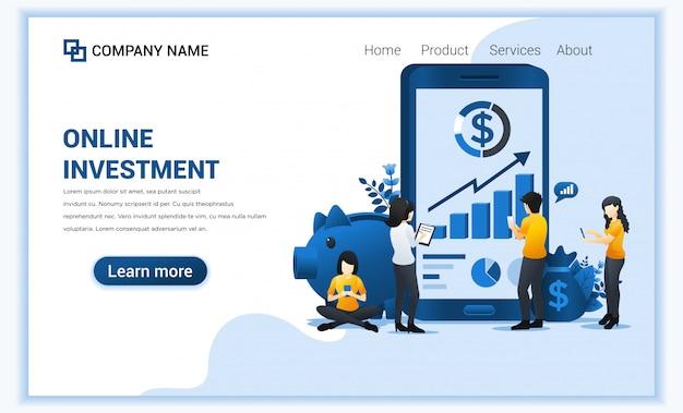 Koncepcja inwestycji online z ludźmi pracuje na telefonie komórkowym, inwestycjach biznesowych, technologii finansowej.