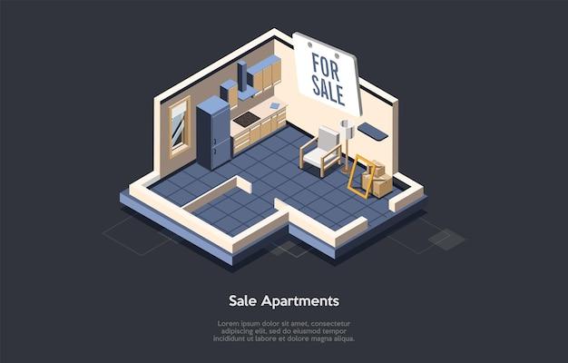 Koncepcja inwestycji w nieruchomości, sprzedaży i kupowania nowego domu.