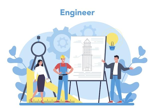 Koncepcja inżyniera. zawód zawodowy polegający na projektowaniu i budowie maszyn i konstrukcji. technologia i nauka. praca architektoniczna lub projektant. ilustracja na białym tle płaski wektor